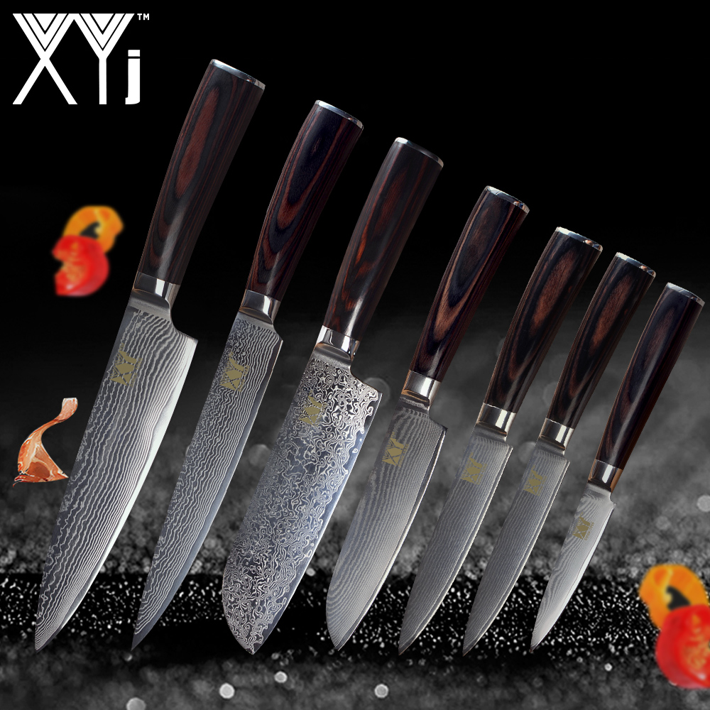 XYj Kitchen Knife Damascus Knives VG10 Core 7 Pcs Sets High Grade Japanese Damascus Steel Beauty