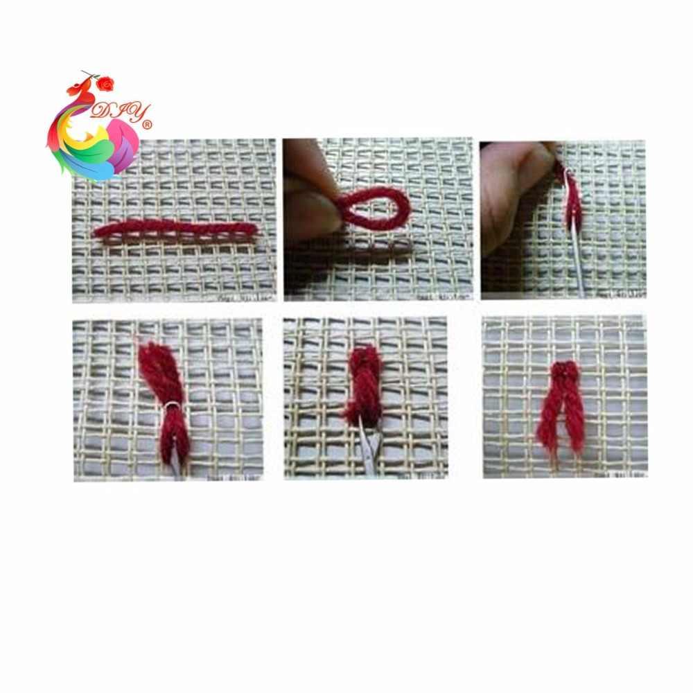 花カーペット刺繍ステッチ糸ラッチフック敷物キットかぎ針フッククロスステッチパッチワークカーペット刺繍クラフト