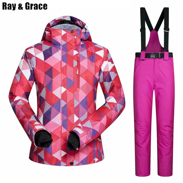 RAY GRACE Outdoor Ski Suit Winter Women Thick Thermal Pants Jacket Women s  Snow Mountain Snowboard Clothing Waterproof Windproof b0171e501