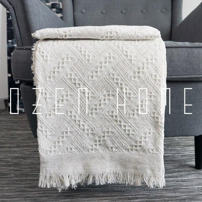 Cobertor de malha algodão sólido sofá pesado cobertor pano sofá macio tapete cobertor borlas lance cobertor colchas xadrez