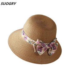 SUOGRY Women Straw Hat Wide Brim Panama Bow Sun Hats For Chapeu Feminino Summer
