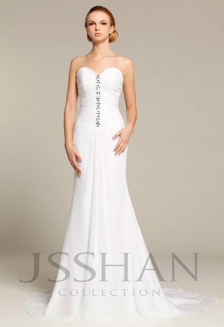 12W006 High quality New Wedding dress 2014 Real Sample Hot sale Fashion strapless Chiffon Wedding dresses Bridal Dress