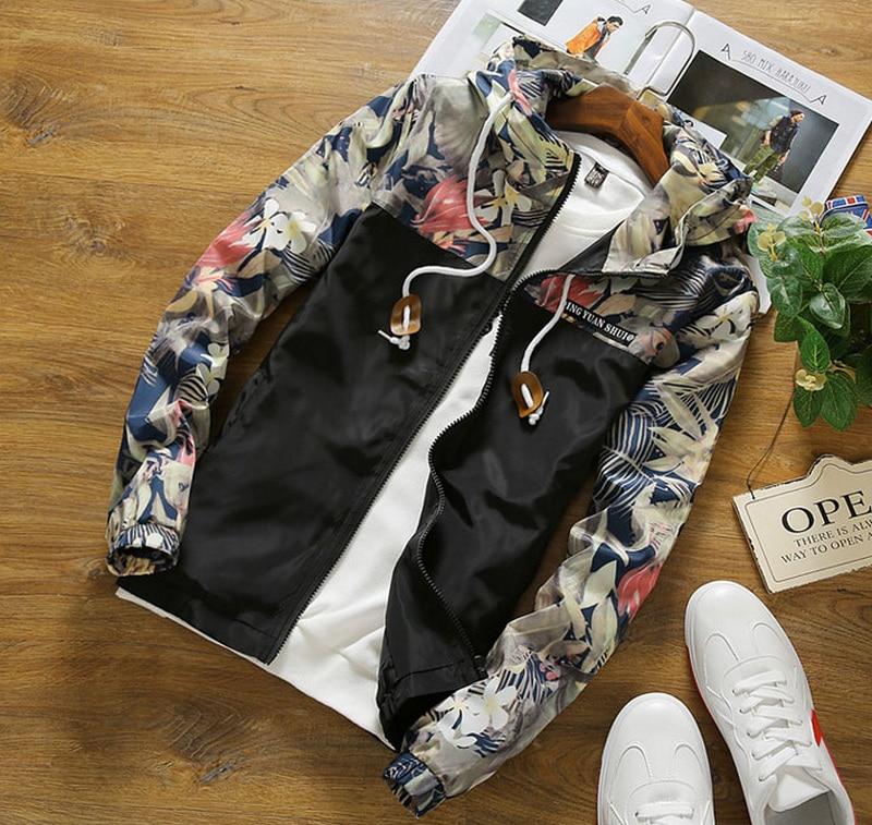 Floral Bomber Jacket Men Hip Hop Slim Fit Flowers Pilot Bomber Jacket Coat Men's Hooded Jackets Plus Size 4XL ,