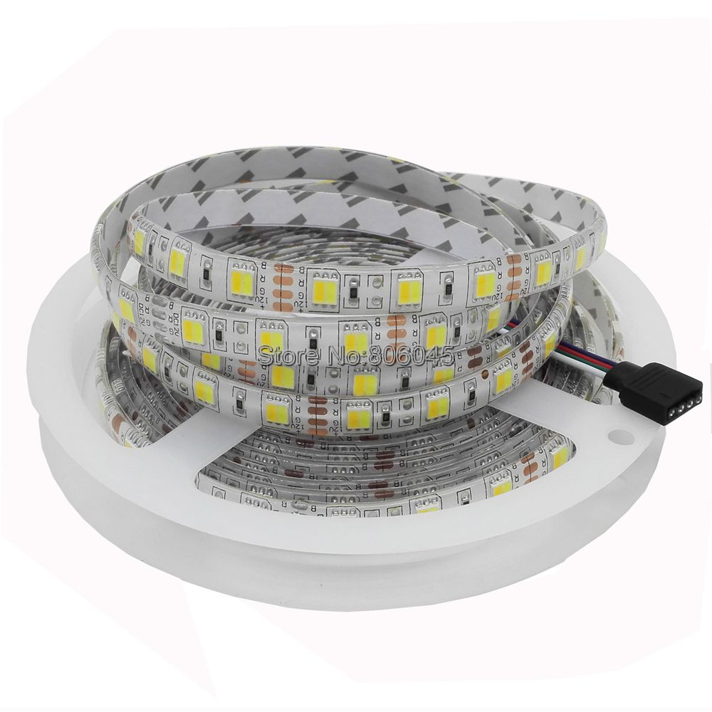 5m 12V Double Color 5050 / 5025 LED Strip DC12V Flexible Tape, CW/WW Dual White In 1 Chip Color Temperature Adjustable CCT Strip