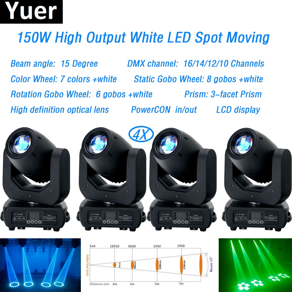4Pcs/Lot 150W LED spot Moving Head Light dmx512Led Stage Bar Lights For Wash Beam Disco DJ Party Stage Effect lighting Equipment4Pcs/Lot 150W LED spot Moving Head Light dmx512Led Stage Bar Lights For Wash Beam Disco DJ Party Stage Effect lighting Equipment