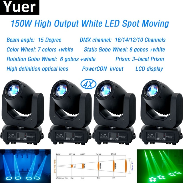4Pcs/Lot 150W LED spot Moving Head Light dmx512Led Stage Bar Lights For Wash Beam Disco DJ Party Stage Effect lighting Equipment
