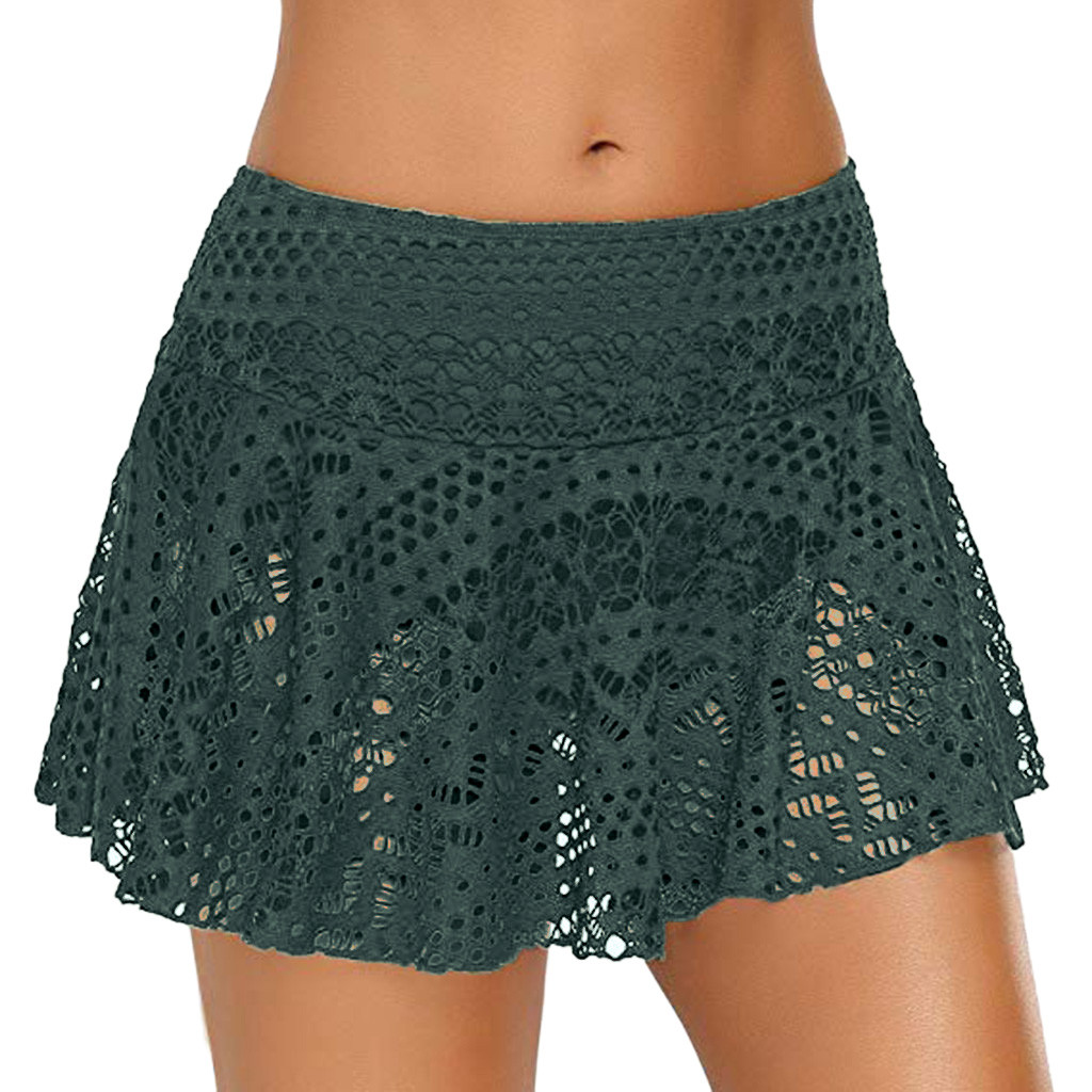 2019 Summer Sexy Lace High Waist Bikini Bottoms Solid Hollow Out Swimwear Women Swimsuit Skirts Crochet Mayo Biquinis Feminino