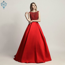 Ameision Stunning Beaded Sleeveless Evening Party Dresses 2019 Long Elegant O Neck Sexy Backless Satin Floor Length Prom Gowns