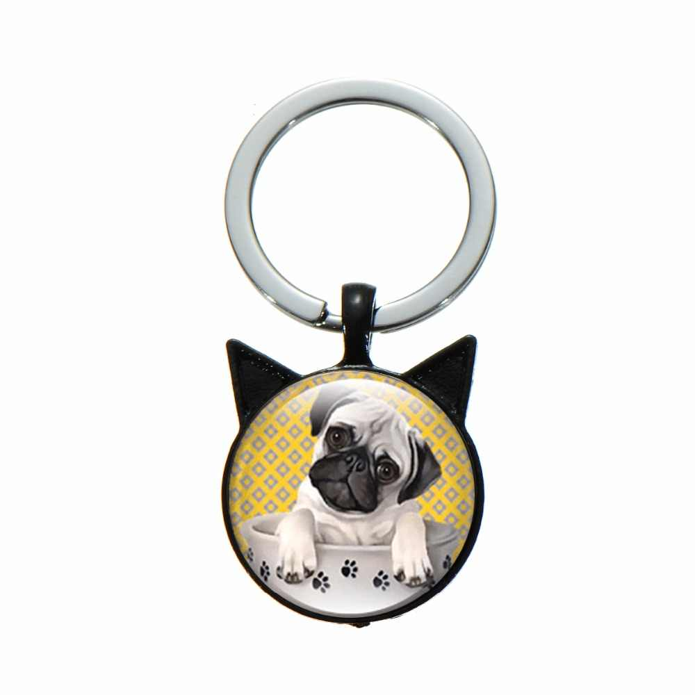 SONGDA การ์ตูนสัตว์เลี้ยงสุนัข Bulldog พวงกุญแจ Pug สัตว์พิมพ์แก้ว Cabochon Keyring ของเล่นกระเป๋า Charm Trinket ของขวัญที่ดีที่สุดสำหรับสุนัขคนรัก
