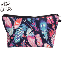 Who Cares Feathers Color 3D Printing Maleta de Maquiagem Necessaire Party Makeup Bag Women Cosmetic Bag Organizer Make up Bag