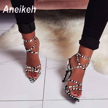 Aneikeh 2019 Sexy Leopard Print Sandals Summer Shoes Women Thin High Heels Open Toe Lady Cross-tied Ankle Strap Shoes Size 35-40