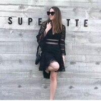 الصيف boho أسود مثير العميق الخامس الرقبة الرباط البسيطة اللباس المرأة 2018 مصمم التطريز الجوف خارج حزب شاطئ اللباس تونك vestidos