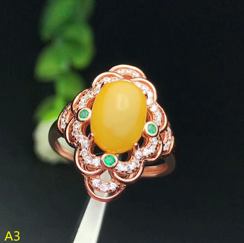 KJJEAXCMY Fine jewelry 925 pure silver inlaid natural wax, amber, ladies' ring jewelry.