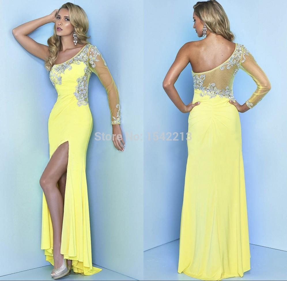 On One Side Long Sleeve Prom Dresses_Prom Dresses_dressesss