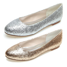 Fashion rounded toe woman glitter flats slip on shoes metallic silver gold party night club evening shoes simple design glitter