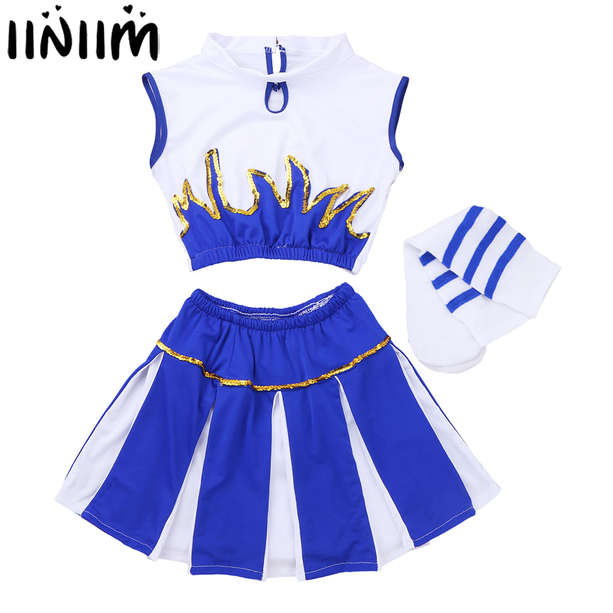 Kids Girls Cheerleader Fancy Costume Ballerina Crop Top with Skirt and Socks for Cosplay Party Ballroom Jazz Leotard Dancewear