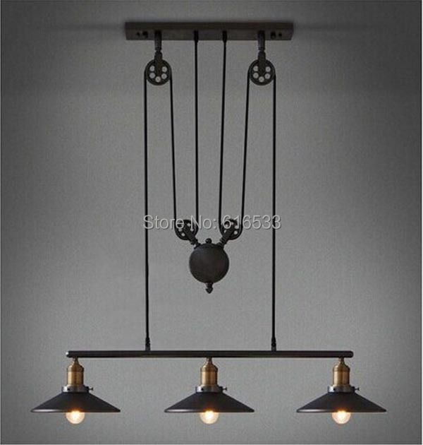 Modern Vintage American Country Loft Lustre Lifting Pulley Industrial Edison Pendant Lamp Plate Adjustable Wire Fixture Kitchen