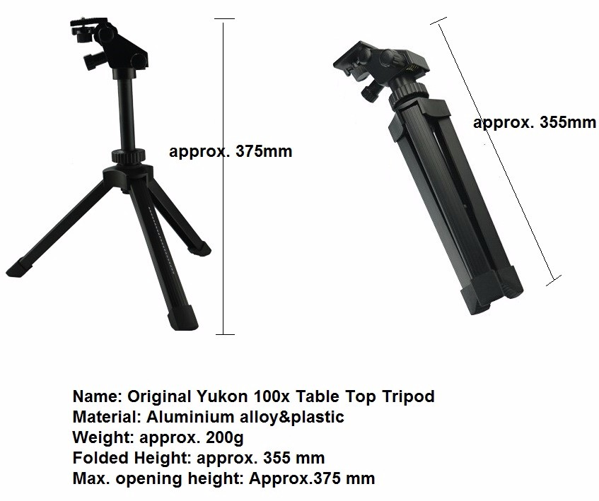 free shipping scope tripod spotting scope tripod Yukon Table  tripod  suggested for use with all YUKON 6-100X100 scopes. dural use adapter for universal for spotting scopes