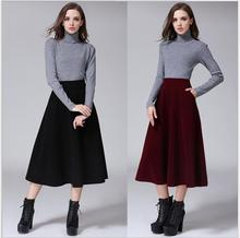 Autumn and winter new women in Europe and America wild hair was a long skirt in the long section of the big fashion flare