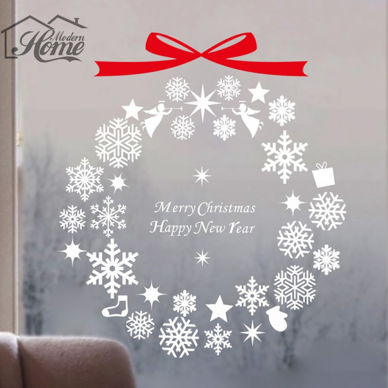 christmas decoration campanula bell snowflake wall sticker glass window removable christmas party decoration store wallpaper diy - Party Decoration Stores