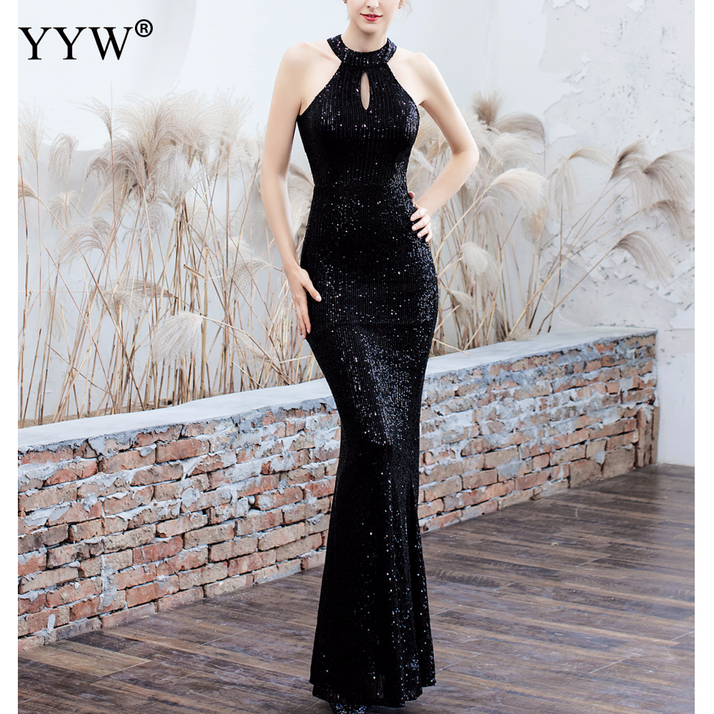 Elegant Sequined Halter Sleeveless Mermaid Long Evening Dress 7
