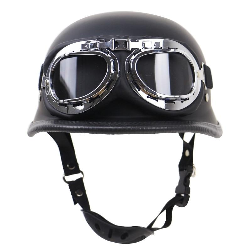 Neue Deutsch Leder Vintage Motorrad Helm Motorrad Open Face Retro Halb Helm Cruise Chopper Biker Pilot DOT Größe S-XXL
