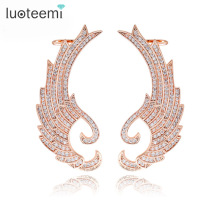 Luoteemi Europe Design Fashion Rose Gold Plated Cover Large Wings Cuff Stud Earrings For Sexy Attractive Bar Party Jewelry
