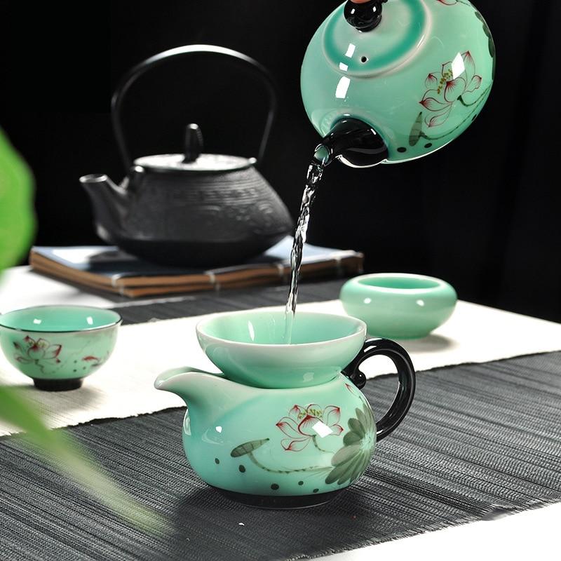 11 pièces Longquan celadon créatif chinois Kung Fu tasse Lotus Danfeng théière crépine en céramique thé cérémonie thé ensemble cadeau boîte - 2