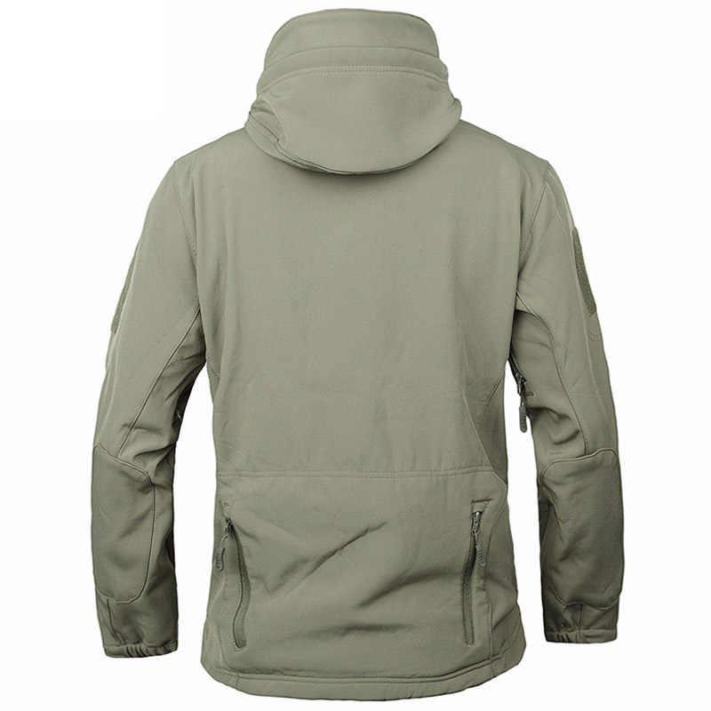 Pele de tubarão casca macia v4 ao ar livre militar tático jaqueta masculina à prova dwaterproof água vento casaco caça camuflagem roupas do exército