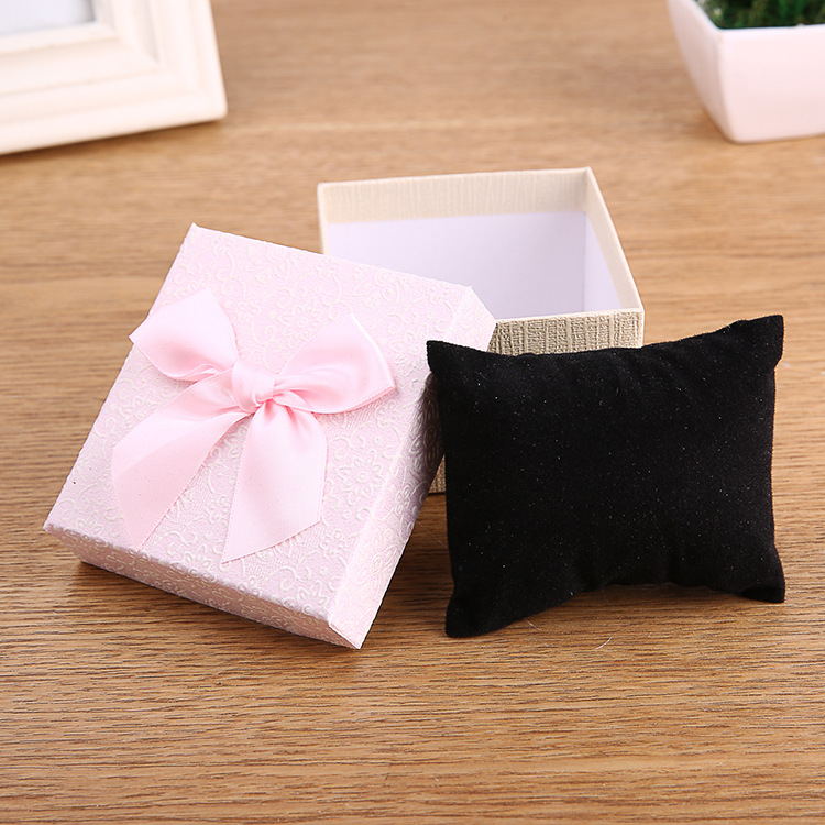 High Quality 6 Pack/Lot 9x8.5x5.5 cm Kraft Paper Creative Box Jewelry Ribbon Bow Bracelet Watches Gift Box Cases with Pollow
