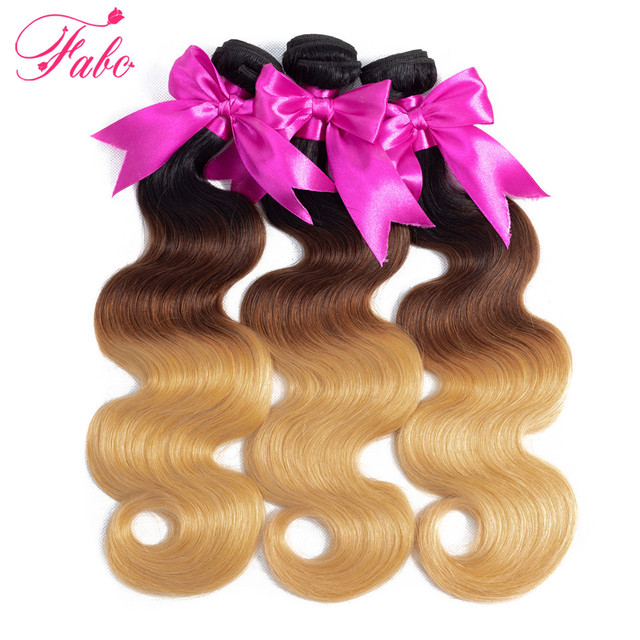 FABC Ombre Brazilian body Hair 1b/4/27  Human Hair weave 3 Tone bundles Remy  Hair Extensions can buy 3 or 4 bundles