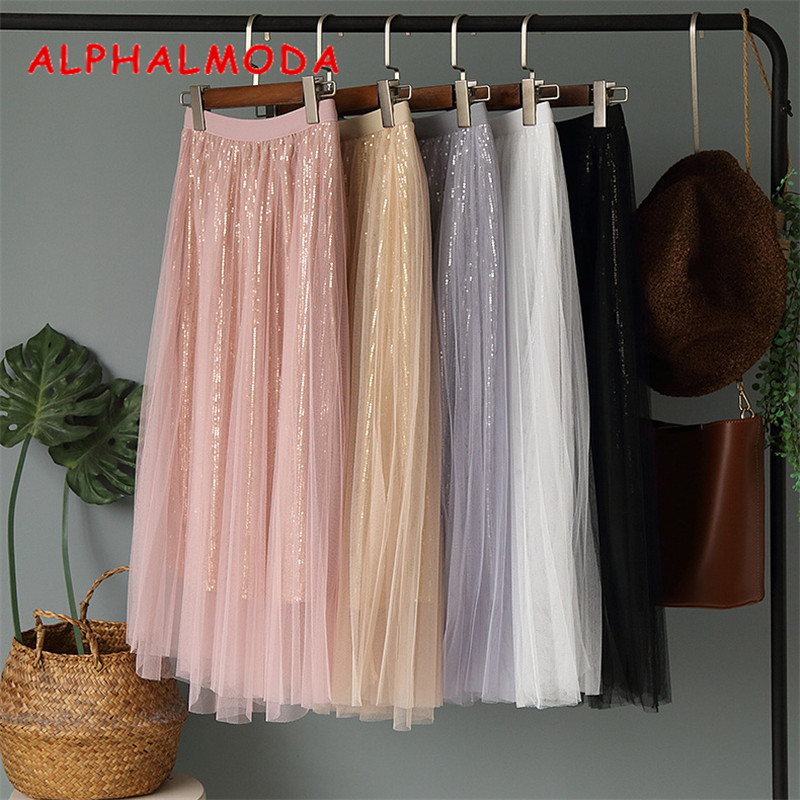 60c0db453 ALPHALMODA 2019 Spring Maxi Skirt Fashion Sequined Gauze Skirts Solid Color  High Waist Shining Sequins Stylish