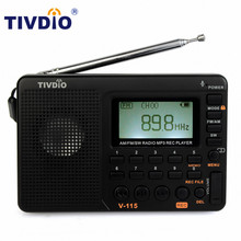 TIVDIO V-115 Radio FM/AM/SW World Band Receiver MP3 Player REC Recorder With Sleep Timer Black FM Radio Recorder F9205A