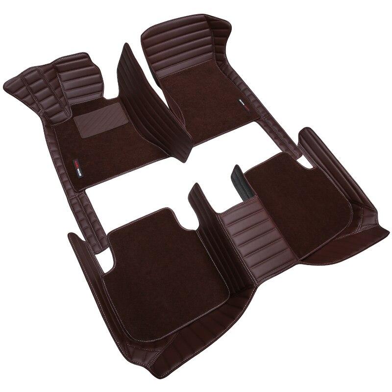 HLFNTF personnalisé Double tapis de sol de voiture pour BMW 3 5 7 Série E70 E90 F30 E60 F48 E83 F10 F11 F01 G11 X1 X3 X5 fil Tapis de voiture-style