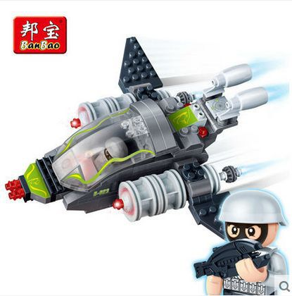Banbao 6213 Super Police aircraft plane 155 pcs Plastic Building Block Sets Educational DIY Bricks Toys for children