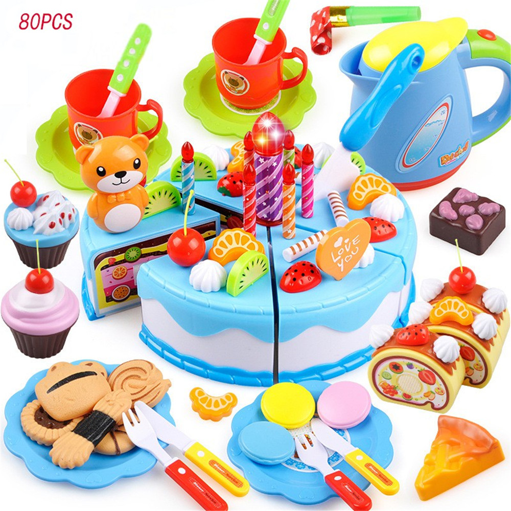 Kitchen Toys Pretend Play Baby Cutting Toy Kids Cake Play Food Toy 38/55/80 Pcs Birthday Gift Fun Self Assembled Model Thinking