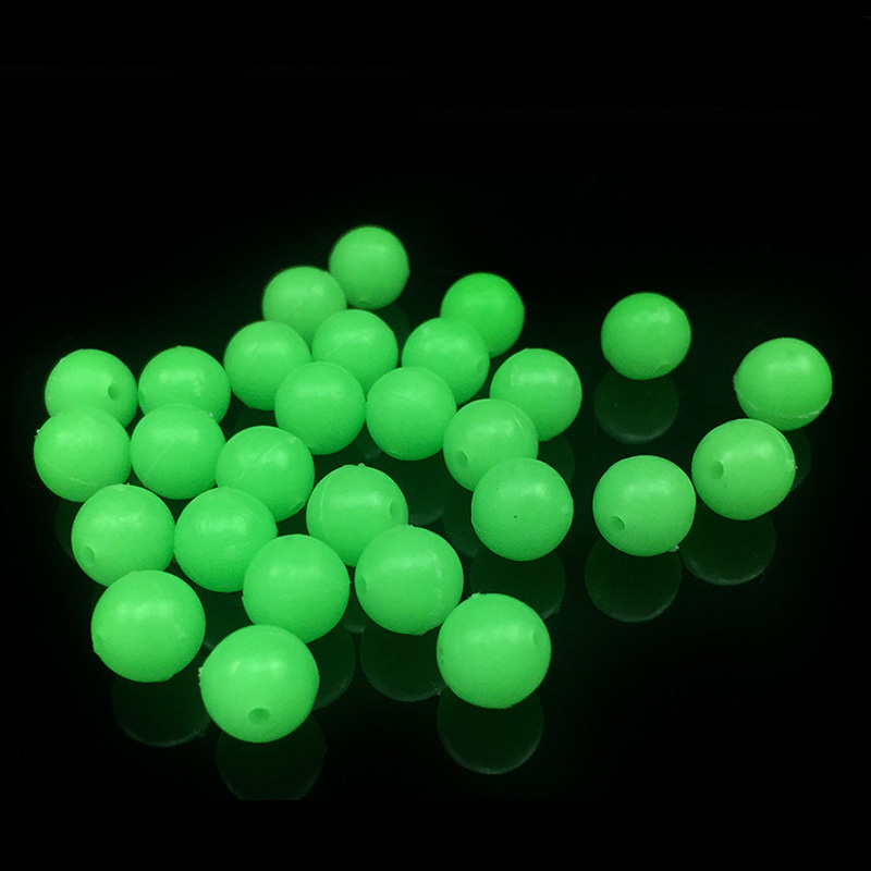 Proleurre 100Pcs/lot 5mm Round Luminous Glow Rig Beads Sea Fishing Lure Floating Float Tackles fishing Accessories