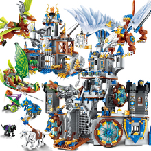 QWZ Medieval Lion Castle Knight Carriage Model World Legoes Building Blocks Set Bricks Toys for Children Gifts