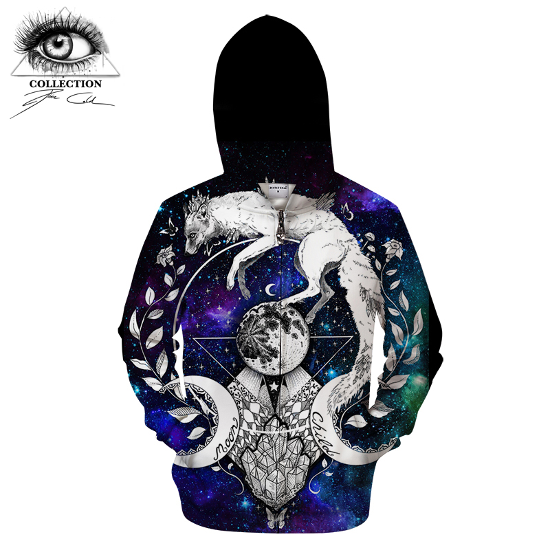 Moon child blanket By Pixie cold Art 3D Animal Zip Hoodie Men Zipper Hoody Casual Sweatshirt Groot Tracksuit Pullover Drop Ship