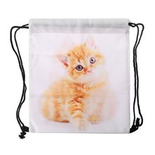 3D Printed Drawstring Bags Rucksacks Cinch Sack Animal Pattern Cute Cats Backpacks for Women
