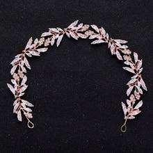 Vintage hoja accesorios para el cabello de novia Tiara mujeres accesorios para el cabello Diamante de imitación cristal diadema tocado de boda tocado de novia