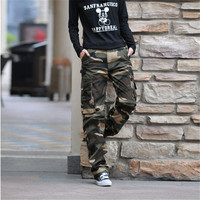 2019 New Women Cargo Camouflage Pants Casual Multi Pockets Baggy Overalls Pants For Female Army Camo Military Style Long Pants