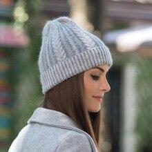 2018 New Brand Hat Female Women Winter Hats Beanies Knitting Rabbit Wool Fur Hat Female Real Fur Skullies Caps Gorros Solid