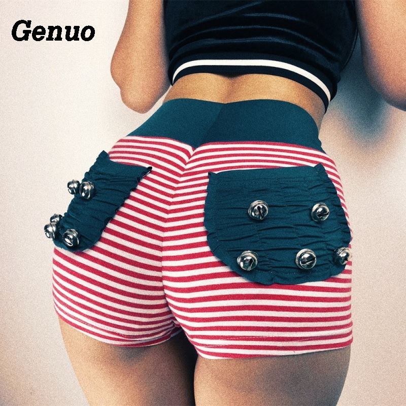 Genuo Sexy Jingle Bell Push Up Elastic Shorts Women Striped Back Ruched Pocket Sporty Sweatpants Girls 2018 Christmas Shorts