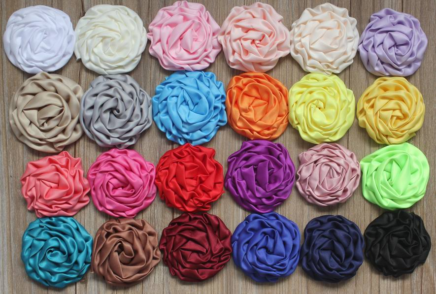 100pcs 8cm Satin Ruched Rolled Rosette Flowers for embellishment of hair bows headbands hair clips