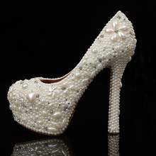 High Heel Bridal Wedding Dress Shoes 4 Inches Banquet Prom Shoes Beautiful Sweet Bling Bling Full Pearls with Sparkling Diamonds