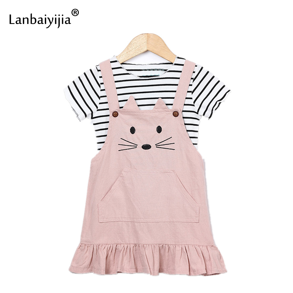 Lanbaiyijia 2018 Newest Girl Suits Cat Print cross Stripe t shirt Suspender Dress 2 Pcs Korean Summer Girl Clothing Children