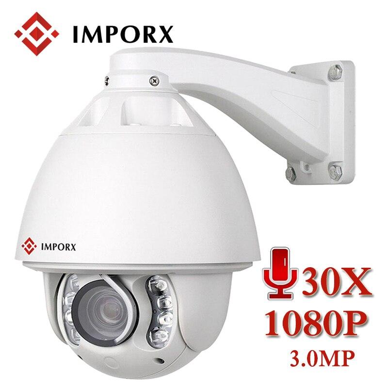 3MP HD 1080 P 30X PTZ Rastreamento Automático De Áudio Da Câmera IP Dome Alarme câmera PTZ ZOOM Ao Ar Livre Câmera de Segurança CCTV IP Onvif À Prova D' Água