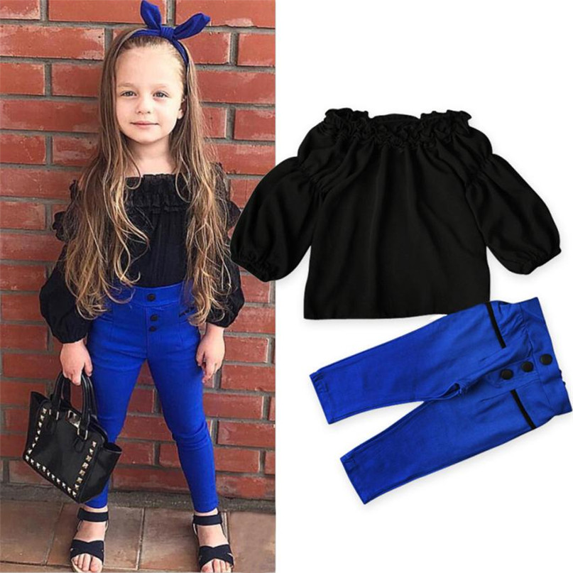 Blue Color 2017 Lovely Kids Toddler Baby Girls Off Shoulder Tops Pants 2Pcs Set Suit Outfits Clothes Set drop shipped ST28 ...