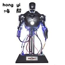 1:4 Железный человек mk2 база перезаряжаемая полудрагоценная статуя светильник-излучающая модель игрушки украшение подарок AG586